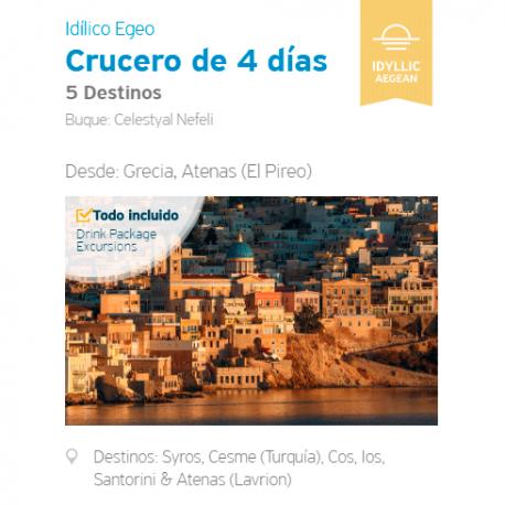 Crucero 4 Días - Egeo Idílico, 4 Islas Griegas y Turquía, desde El Pireo, Atenas.