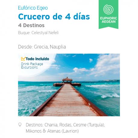 Itinerario Crucero 4 Días Eufórico - 4 destinos desde Nauplia, Peloponeso.