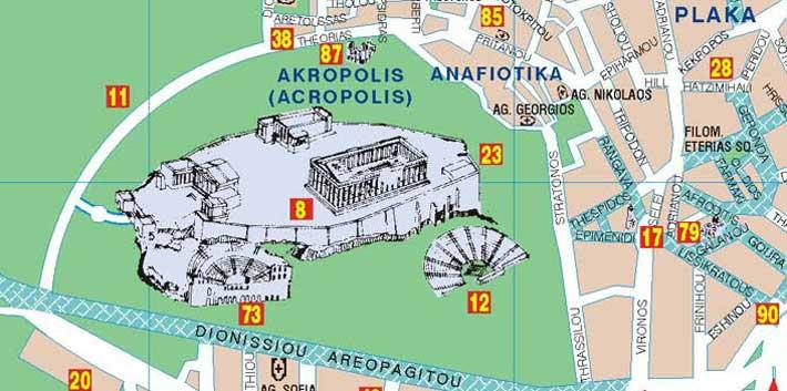 Localización y Mapa del teatro Odeón de Herodes Ático, Herodion, en Atenas
