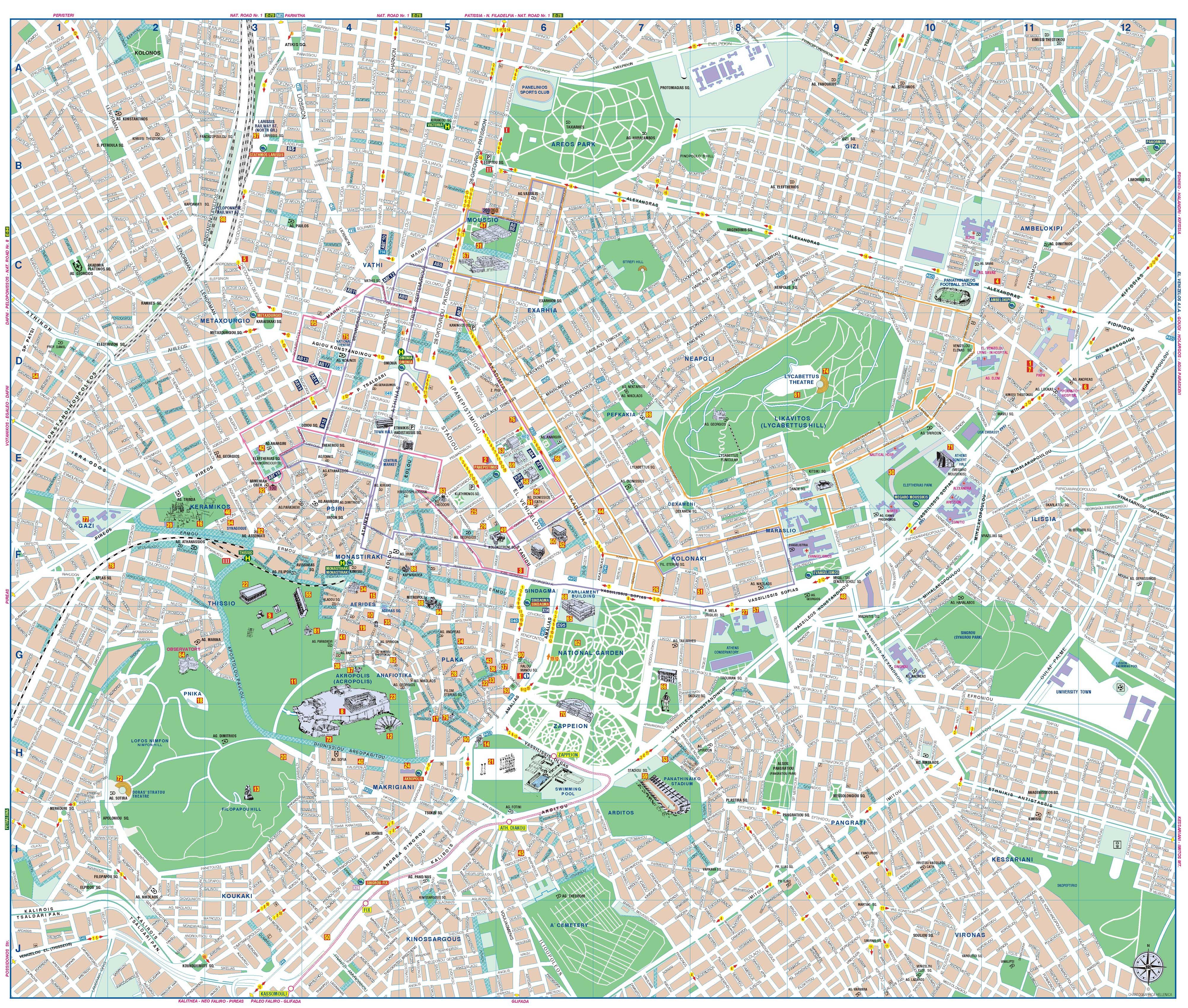 Mapa de atenas plano de atenas grecotour for Planos google