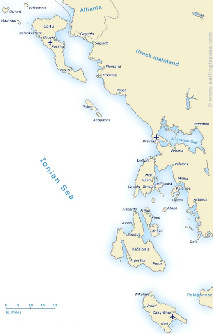 Guía náutica de las islas Jónicas en el mar Jónico de Grecia.