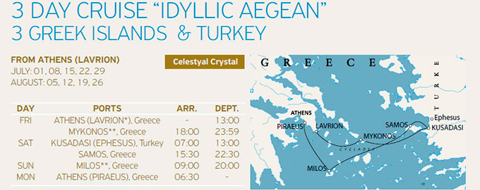 Crucero 3 Días Idilico a bordo Celestyal Cristal