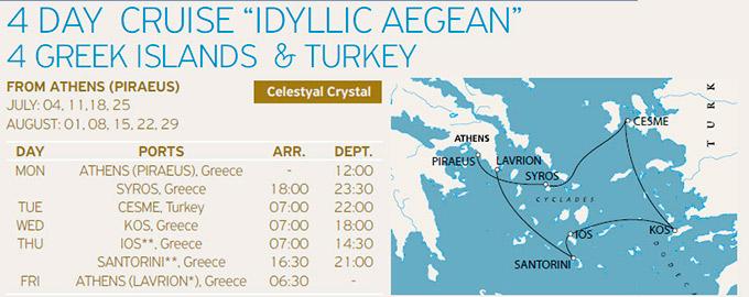 Programa, Itinerario y Ruta del Crucero Celestyal 4 Días Idílico por Islas griegas y Turquía