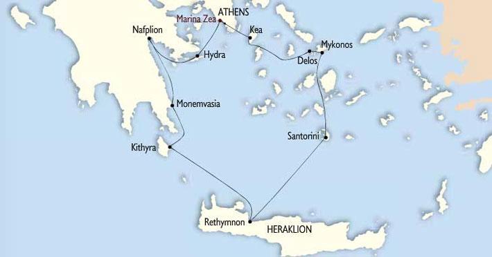 Mapa e Itinerario Crucero Grecia Clásica (Classical Greece) | Variety Cruises | Harmony V