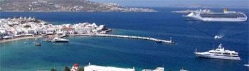 Puertos de Mykonos de barcos ferry