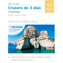 Crucero 3 días - Egeo Idílico, 3 Islas Griegas y Turquía, desde Lavrion, Atenas.