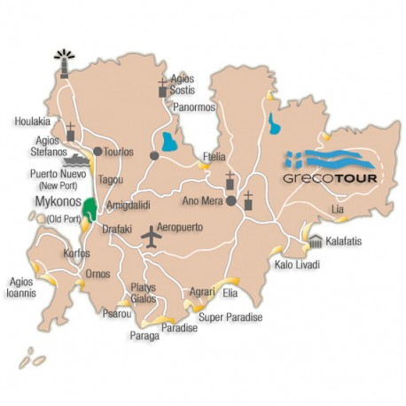 Mapa Traslados Privados en Mykonos