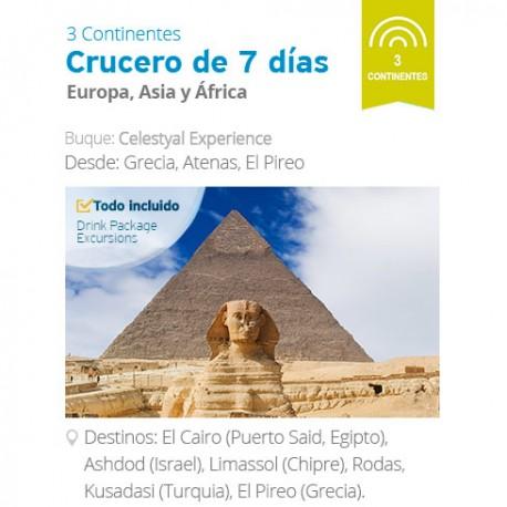 Mapa Itinerario Crucero Celestyal 7 noches 3 Continentes desde Atenas . Residentes Latinoamérica