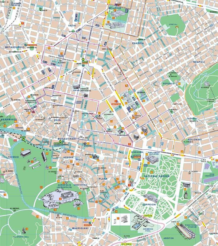 atenas mapa Mapa de Atenas | Plano de Atenas   GrecoTour atenas mapa