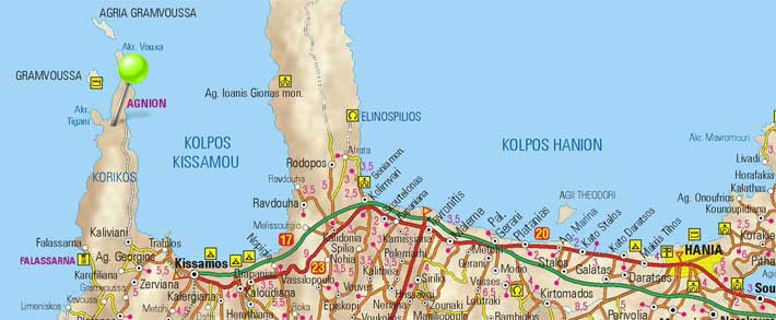 Mapa de Balos Gramvousa, Creta