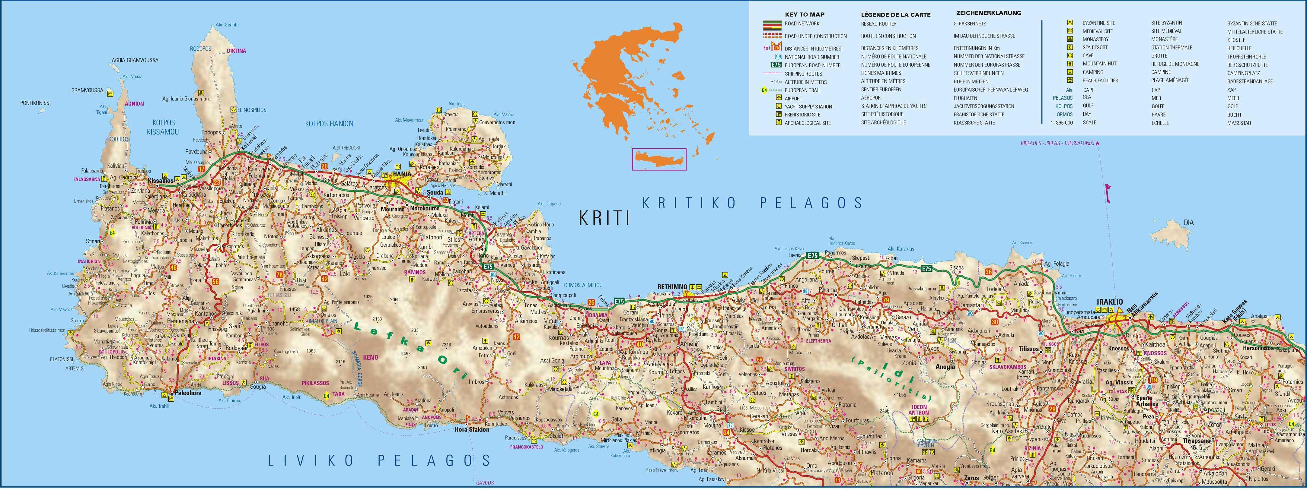 creta mapa Mapa de Creta | Grecia   GrecoTour creta mapa