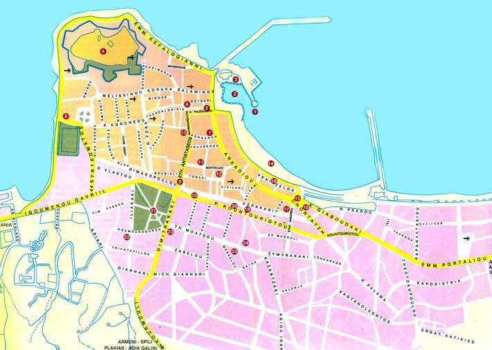 Mapa Plano Ciudad de Rethymnon, Creta