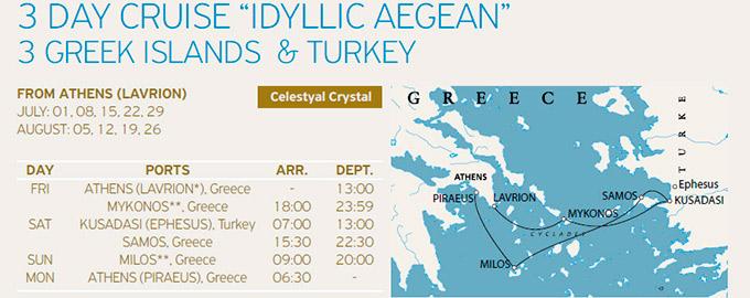 Programa, Itinerario y Ruta del Crucero Celestyal 3 Días Idílico por Islas griegas y Turquía