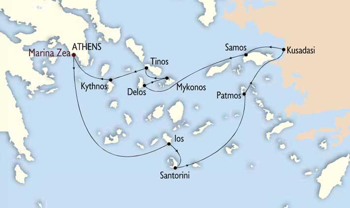 Itinerario y Ruta del Crucero Odisea del Egeo