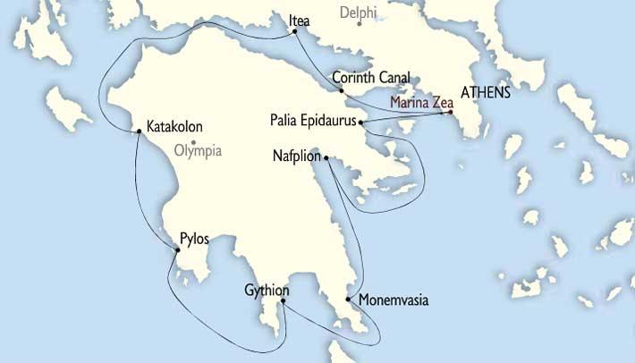 Mapa deel Itinerario del Crucero Grecia Antigua y Bizantina