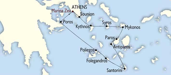Mapa e Itinerario Crucero Joyas de Cicladas | Variety Cruises | Goleta Galileo