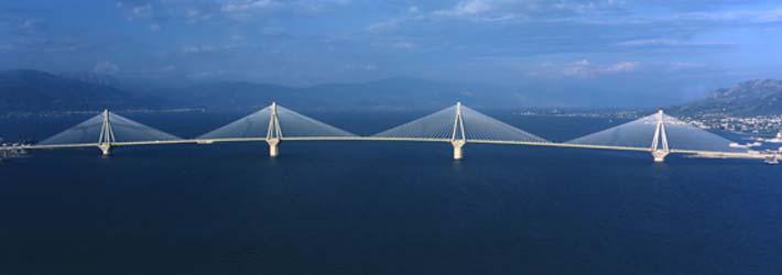 Puente Rio Antirio, en el Peloponeso de la Grecia Continental