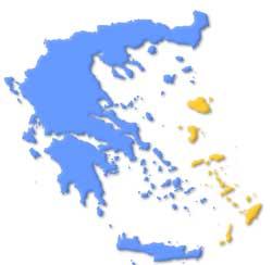 Mapa de situación de las Islas del Dodecaneso en Grecia