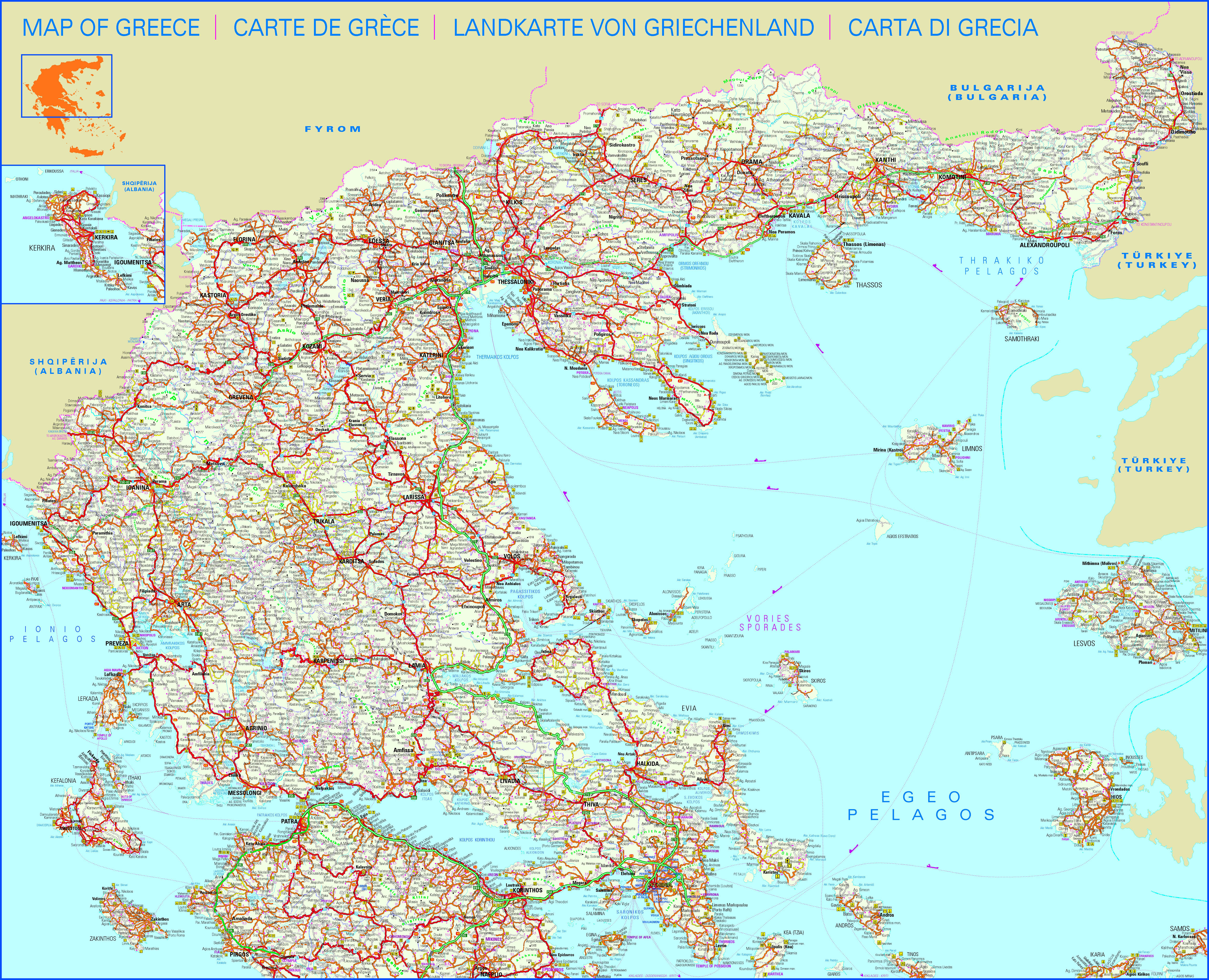 Mapa Grecia Santorini