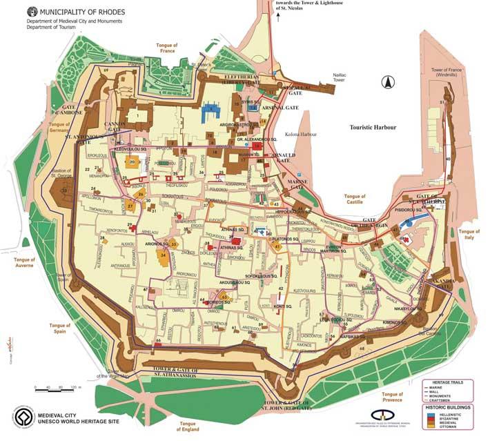 Mapa Plano Ciudad medieval de Rodas