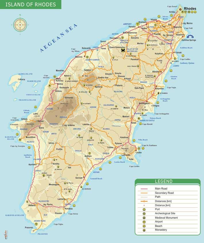 Mapa de Rodas, Grecia